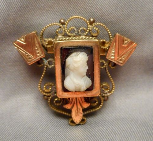 Antique Victorian Brooch Pin - Ornate Gold Filled Filigree w/ B & W Lady Cameo