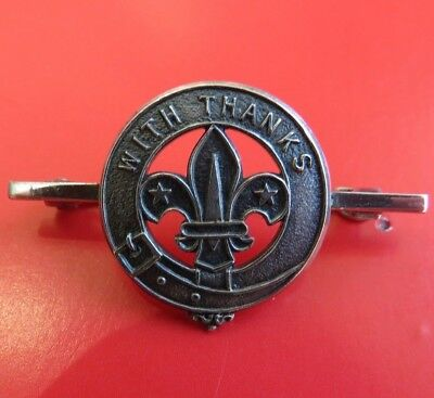 BOY SCOUTS <>  1967  <>  ' WITH  THANKS '     BROOCH  <>  SILVER  <>  USED