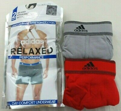 Adidas Men's Boxer Briefs 2 Pack M L Red Grey Athletic Performance Climalite
