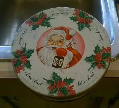 "Vtg  ""Brandle And Smith SATIN SWEET"" Candies Christmas Tin SANTA & HOLLY"
