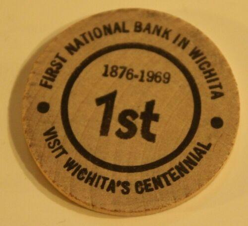 Vintage First National Bank In Wichita Wooden Nickel Kansas