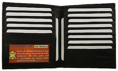Mens Genuine Leather Bifold Wallet Slim Hipster Cowhide Credit Card And  Id New