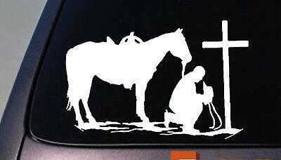 Christian Praying Cowboy Rodeo Car Truck Window Wall Laptop Vinyl Decal Sticker