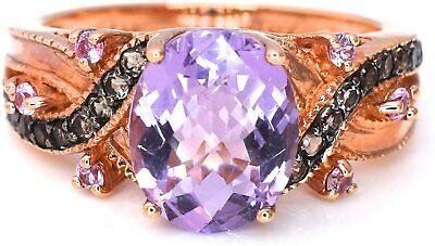 LeVian Ring Pink Amethyst Smoky Quartz Sapphire 2.31 ct 14k Rose Gold New s8.75 Amethyst Pink Sapphire Ring