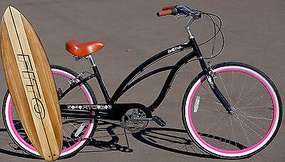 Fito Marina Alloy 7-speed - Black/Pink, Aluminum Light Weight Beach Cruiser Bike