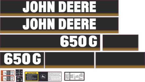 John Deere 650G Aftermarket Decal Kit with controls and warnings.