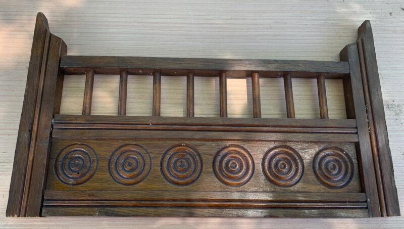 "Atq Salvage Wood carving pediment Antique scroll Header cornice crest 17.5"" Oak"