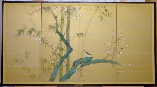 VGUC+ Japanese ? Byobu Nuthatch in Tree Hand Signed Painted 4-Panel Asian Screen