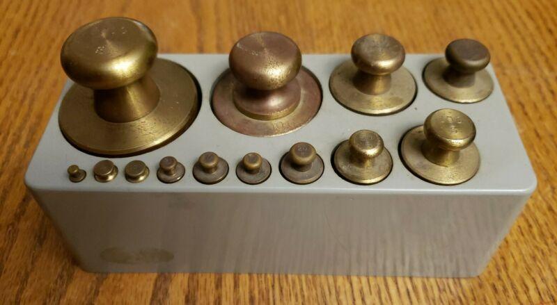 13pc Ohaus Calibrated Brass Weights Set 1g - 1000g