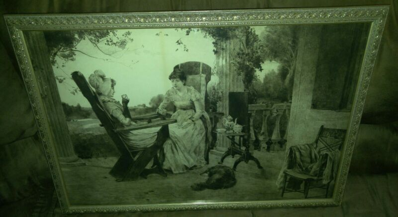 ORIGINAL 19c ETCHING by JAS KING FRAMED PICTURE THE SCHOOLMATES WALL ART WOMEN