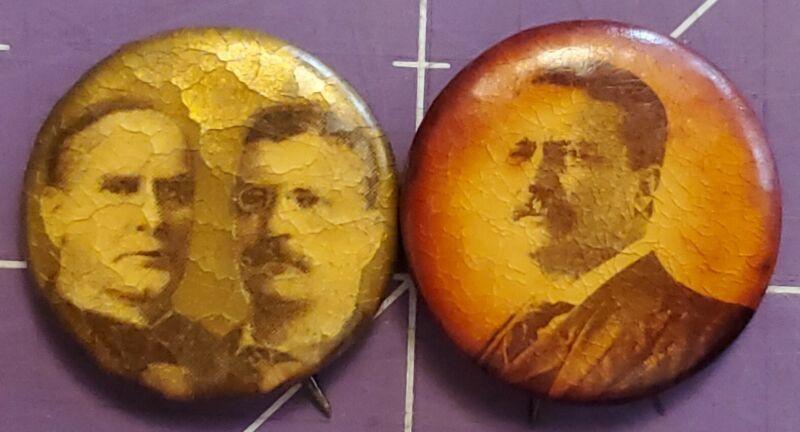 Vintage Teddy Roosevelt political pin lot of 2 inc William Mckinley jugate
