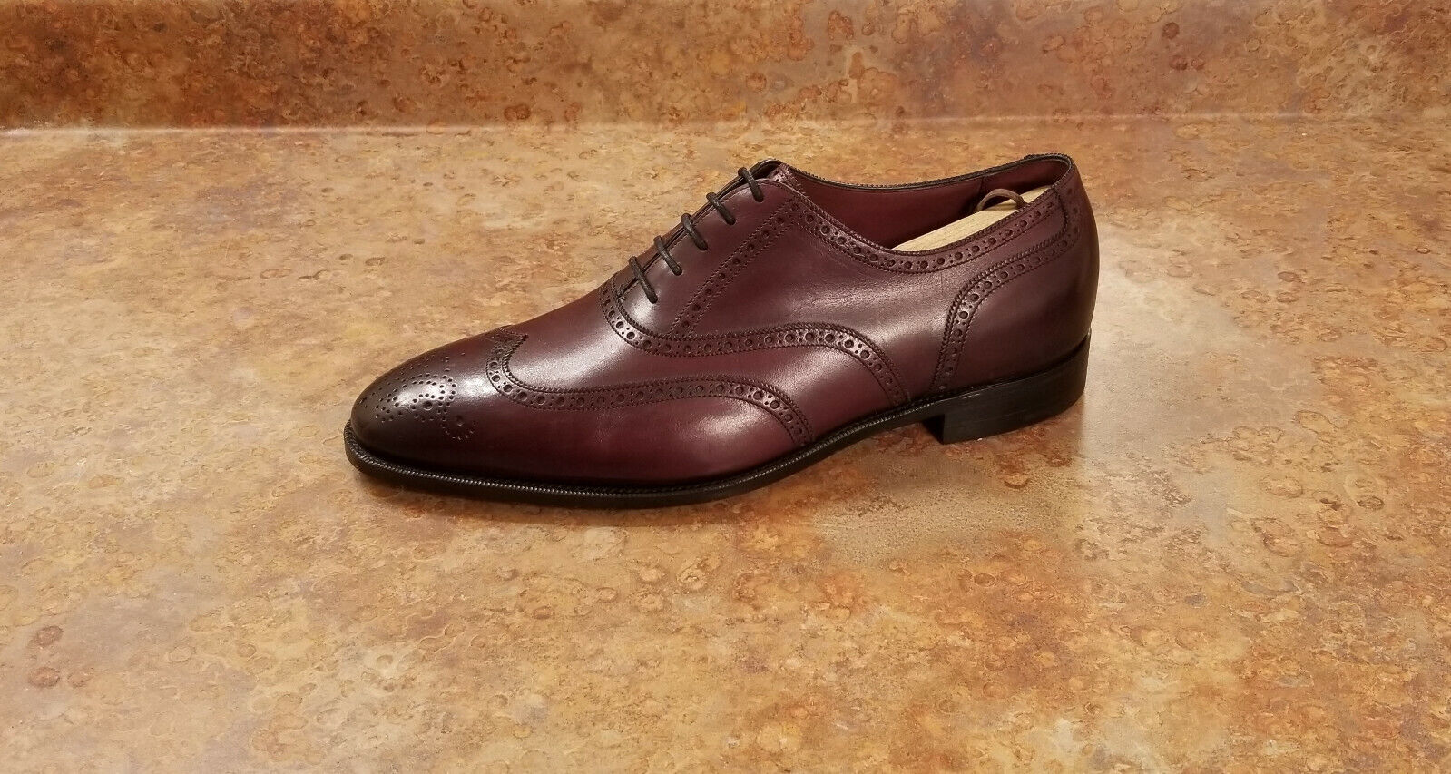 New Burberry Whitchester Derby Shoes Burgundy Mens 85 US 75 Eur MSRP 1995