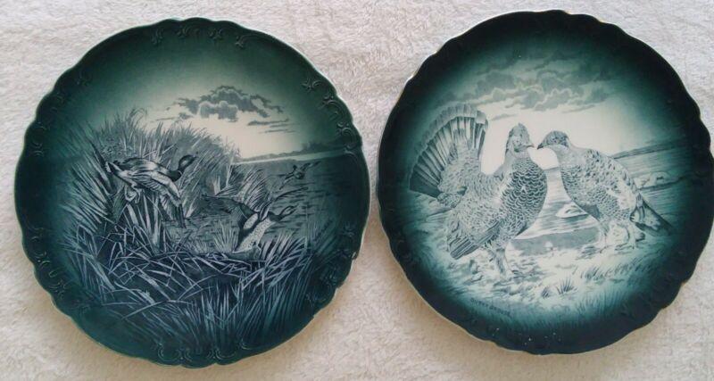 "TWO Antique Semi Vitreous Buffalo Pottery Plates Blue ""Wild Ducks & Dusky Grouse"