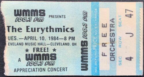 THE EURYTHMICS - TOUCH TOUR Concert Ticket STUB - CLEVELAND, OH April 10th, 1984