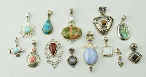 Lot of 13 - Sterling Silver Pendants Multi Gemstone Various Sizes