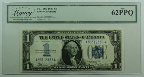 1934 $1 One Dollar Silver Certificate Note Fr. 1606 Legacy New 62 PPQ