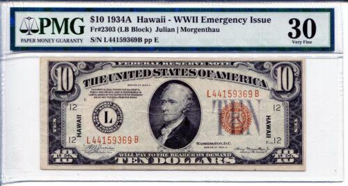 1934A $10 Federal Reserve Note HAWAII FR#2303 LB Block PMG VF30 L44159369B