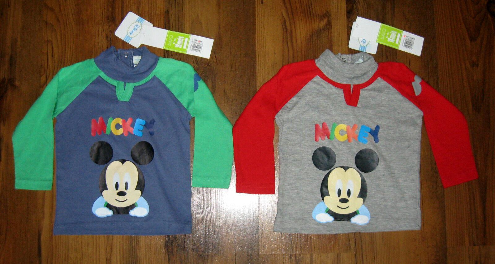 2-er Set Baby Langarmshirts Gr. 68, 80, 86 Disney Micky Maus Longsleeve Mickey