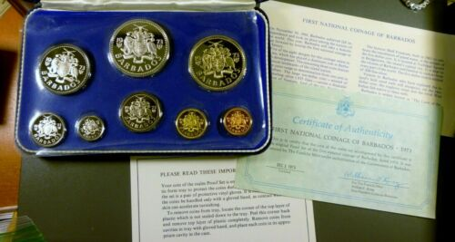 1973 Barbados Franklin Mint Proof Set 8 Coins 1.9271 Oz Silver  Free Shipping!