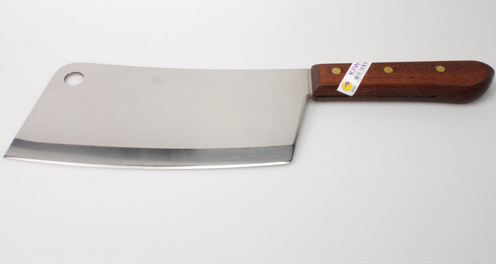 Hackbeil Edelstahl Holzgriff Klinge 19cm Hackmesser Fleischerbeil Küchenbeil