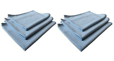 6pk Real Clean 16x16 Microfiber Blue Window Glass Towels For