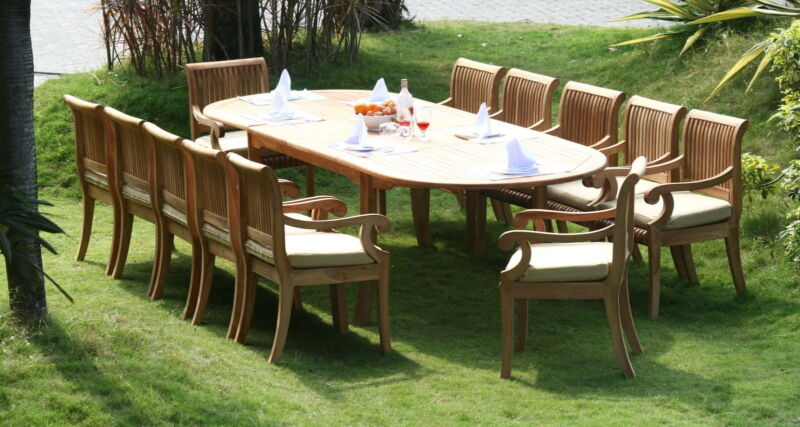 13 PC TEAK DINING SET GARDEN OUTDOOR PATIO FURNITURE POOL D14 - GIVA ARM DECK NW