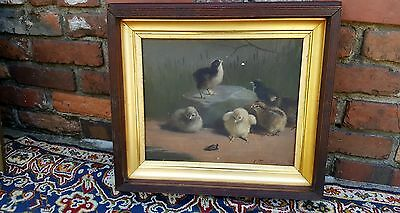 Antique Victorian Folk Art Oil Painting Baby Chicks Artist Signed A. Terwilliger
