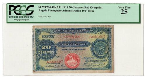 ANGOLA LOANDA PORTUGAL 20 CENTAVOS 1914 PICK 42b  PCGS VF25