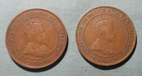 CANADA 1909 and 1910 Large Cent - (2) 1 penny coin Edward VII