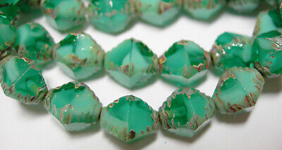 15 10x8mm Czech Glass Turquoise Green Blend Picasso Bicone Beads