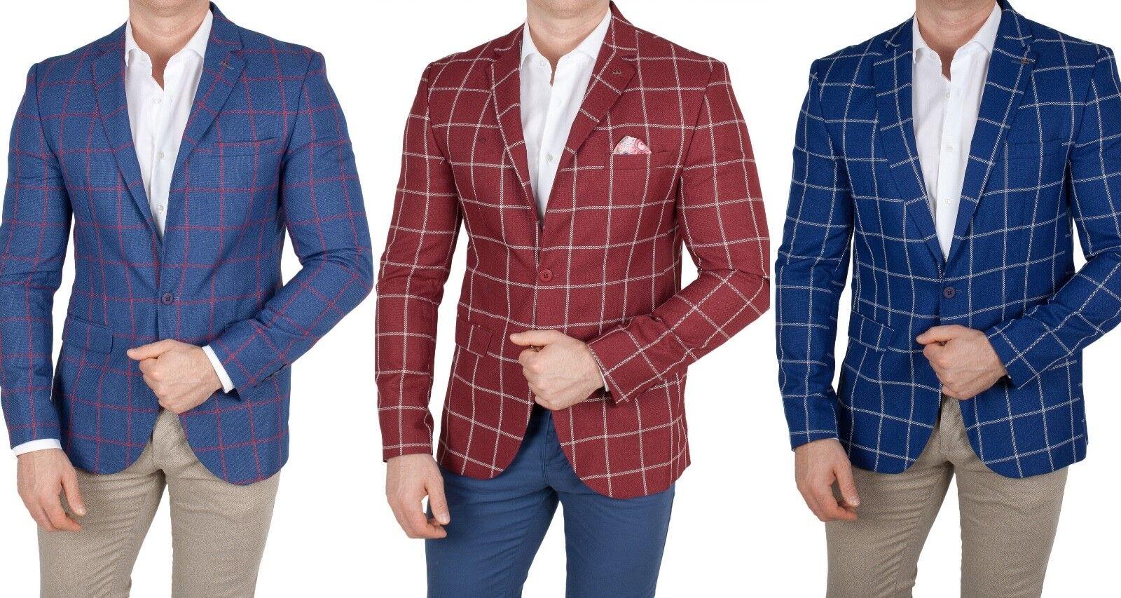 Herren Sakko kariert Einknopf Blazer Casual Jackett Anzug Jacke Polo slim fit