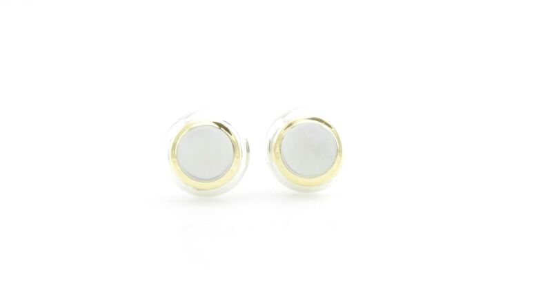 Vintage Tiffany & Co 18k Gold & Sterling Silver Mother of Pearl Earrings #7029