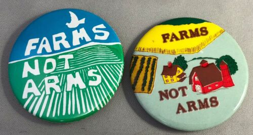 2 1980s FARMS Not ARMS Anti-Nuke Nuclear Weapons Political Pin Vintage Original