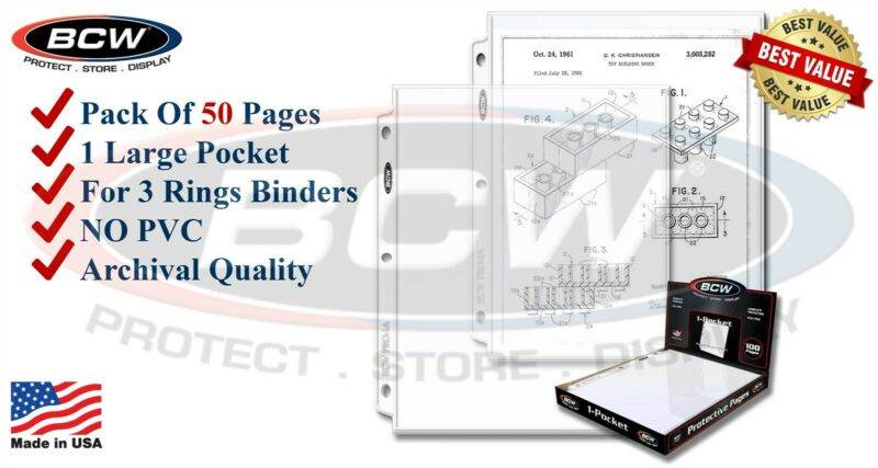 "50 BCW 1 Pocket Album Pages Full Sheet For 8.5x11 "" Doc / Magazine Certificate"