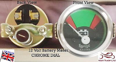 Vintage Geep CAR Tractor Gauge Clock 12V BATTERY VOLTAGE METER CHROME DIAL-M617A