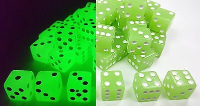 WHOLESALE LOT 50 GLOW IN THE DARK BLUE/GREEN DICE 6 SIDED D6 DIE GAME 5/8