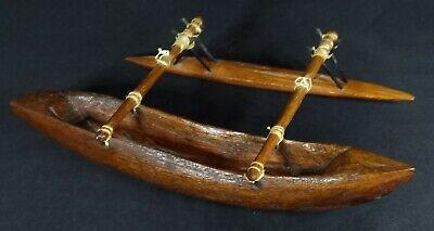 OCEANIC TRIBAL ART POLYNESIAN CARVED WOOD MODEL OUTRIGGER CANOE