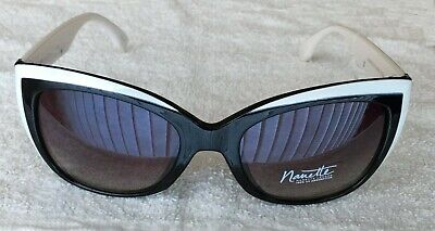 Nanette Lepore Cat Eye Sunglasses Black White w Silver/Gray NN106 OXWH (Cat Eye White)