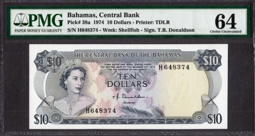 Bahamas 10 Dollars 1974 QEII Pick-38a CH UNC PMG 64