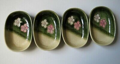 Appetizer Sushi Sauce Bowl Plate Dish Green Tan Japan Set 4 Ume Flower Blossom Green Sauce Dish
