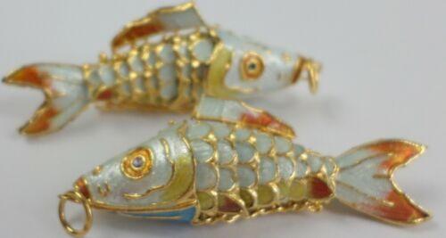 2 Vintage Chinese Enamel KOI FISH Orange Articulated Cloisonné Pendants 54x16mm