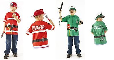 Jungen T-Shirt Kostüm FEUERMANN POLIZIST Polizei Feuerwehr Kinder 100% Baumwolle