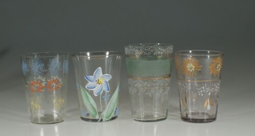 Set of 4 Assorted Victorian Glass Tumblers Handpainted Flowers c.1890 -  Set 5