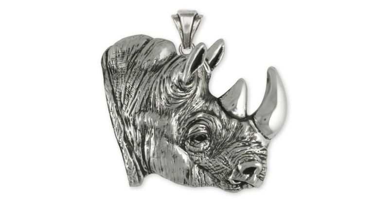 Rhinoceros Pendant Jewelry Sterling Silver Rhinoceros Wildlife Pendant RO1-P