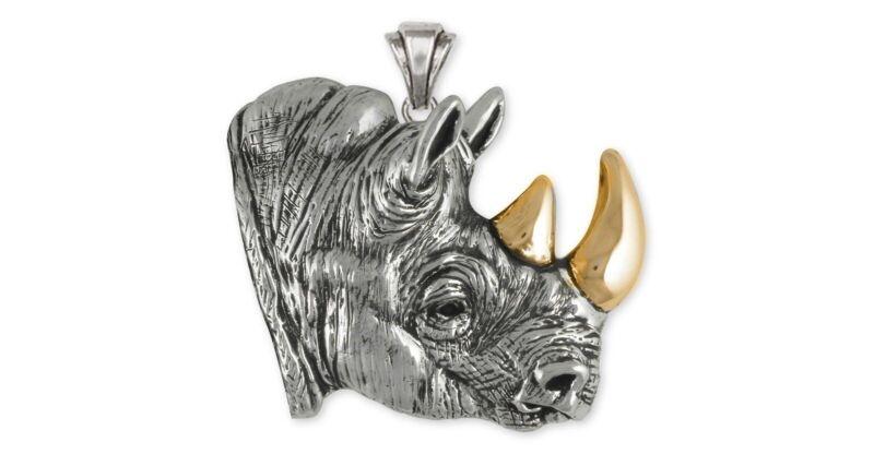 Rhinoceros Pendant Jewelry Sterling Silver Rhinoceros Wildlife Pendant RO1-BZP