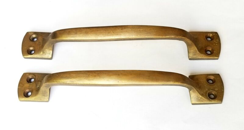 "2 Large Brass Handles "" Pulls Door Cabinet Antique Barn Gate  #P9"