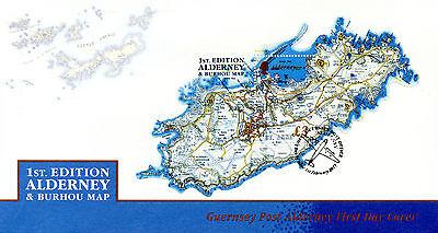Alderney 2017 MNH 1st Ed Alderney & Burhou Map 1v M/S Cover Island Shaped Stamps