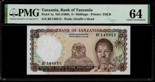 Tanzania 5 Shilings  1966  PMG 64 UNC  P#1a