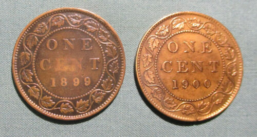 CANADA 1899 and 1900-H Large Cent - (2) 1 penny coin