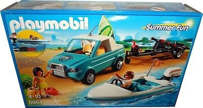 PLAYMOBIL SUMMER FUN 6864 SURFER PICKUP WITH SPEEDBOAT + UNDERWATER MOTOR *BNIB